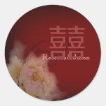 boda chino floral del peony de Borgoña del vintage Pegatinas Redondas