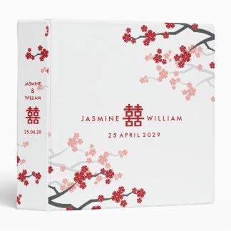 """Boda chino moderno de las flores de cerezo rojas carpeta 1 1/2"""""""
