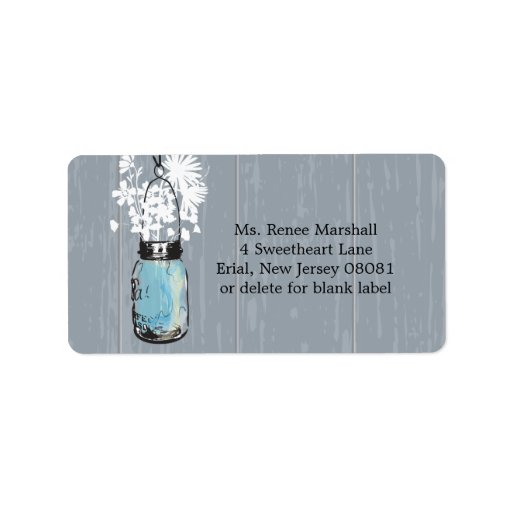 Boda colgante rústico del tarro de albañil etiqueta de dirección