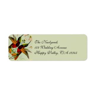 Boda colibríes y flores del vintage etiqueta de remite