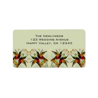 Boda, colibríes y flores del vintage etiquetas de dirección