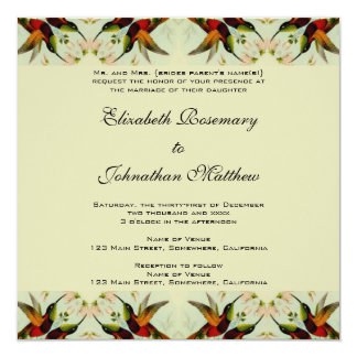 Boda, colibríes y flores del vintage invitación 13,3 cm x 13,3cm