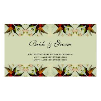 Boda, colibríes y flores del vintage plantillas de tarjetas de visita