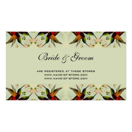Boda, colibríes y flores del vintage tarjetas de visita