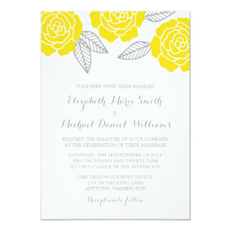 """Boda color de rosa amarillo y gris moderno invitación 5"""" x 7"""""""