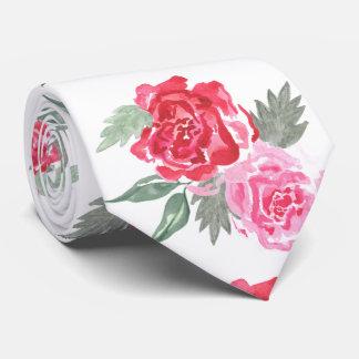 Boda color de rosa bohemio de la acuarela floral corbata personalizada