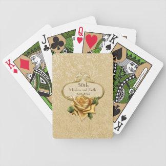 Boda color de rosa de oro A del damasco 50.o Baraja Cartas De Poker