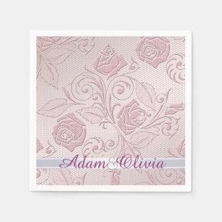 Boda color de rosa rosado romántico del cordón servilleta desechable