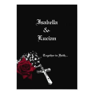 """Boda color de rosa y del rosario del gótico invitación 5"""" x 7"""""""
