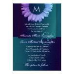 Boda coloreado trullo azul púrpura del girasol invitaciones personales