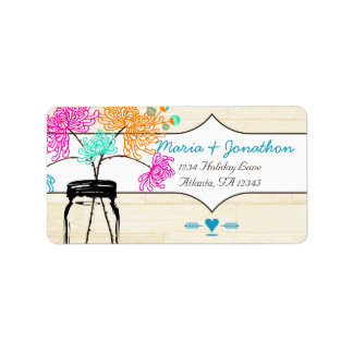 Boda colorido de la flor salvaje del tarro de alba etiquetas de dirección
