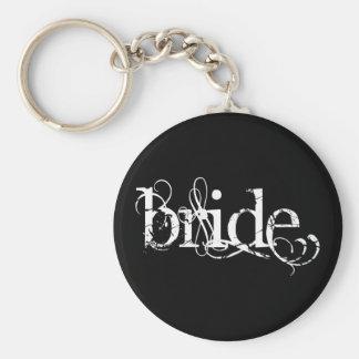 Boda con clase del Grunge - la novia - B&W Llavero Redondo Tipo Pin