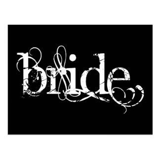 Boda con clase del Grunge - la novia - B&W Tarjetas Postales