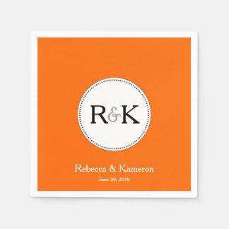 Boda con monograma anaranjado servilleta de papel