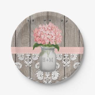 Boda con monograma del Hydrangea del rosa del Platos De Papel