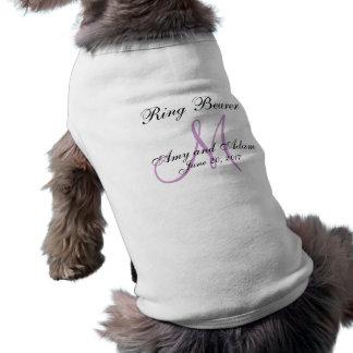 Boda con monograma del portador de anillo del perr playera sin mangas para perro