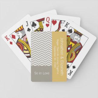 Boda conmemorativo elegante gris y blanco de cartas de juego