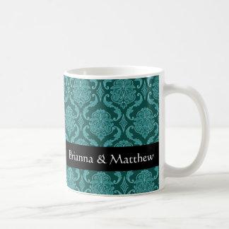 Boda conocido de encargo del damasco verde del taza de café