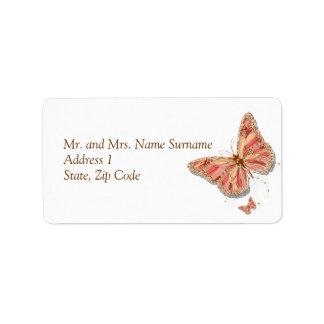 Boda coralino del tema de la mariposa etiquetas de dirección