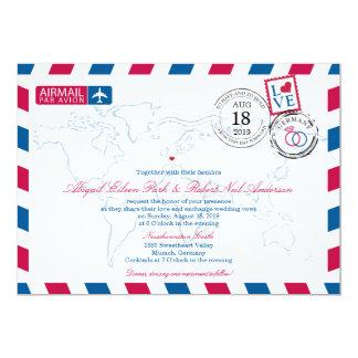 """Boda de Alemania del correo aéreo Invitación 5"""" X 7"""""""