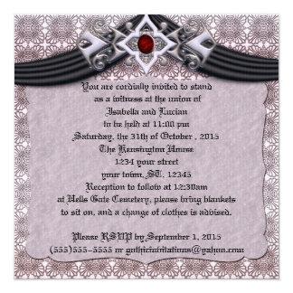 """Boda de cobre Jeweled del gótico del boda Invitación 5.25"""" X 5.25"""""""