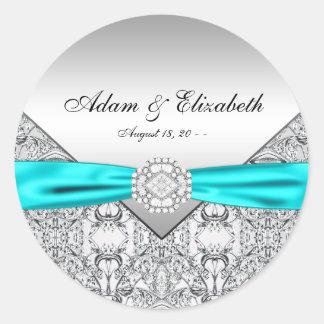 Boda de diamante azul del trullo etiquetas redondas