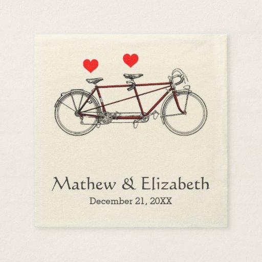 Boda de encargo de la bicicleta en tándem linda servilleta de papel