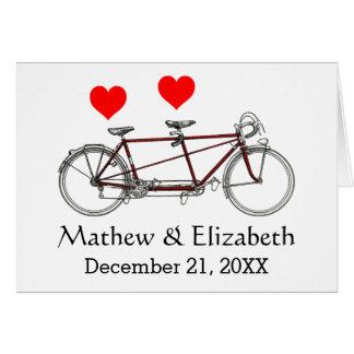 Boda de encargo de la bicicleta en tándem linda tarjeta pequeña