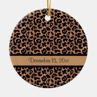 Boda de encargo de la foto del modelo del leopardo adorno redondo de cerámica