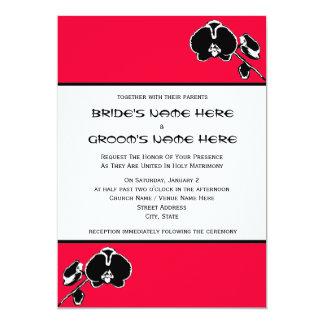 """Boda de encargo del color de fondo de la orquídea invitación 5"""" x 7"""""""