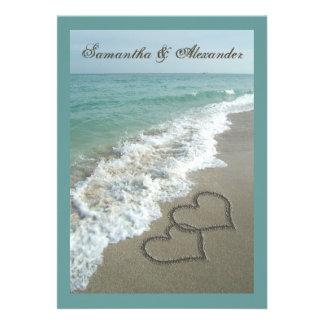 boda de encargo del destino de la playa de los cor invitación