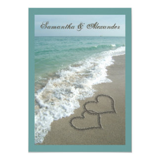 """boda de encargo del destino de la playa de los invitación 5"""" x 7"""""""