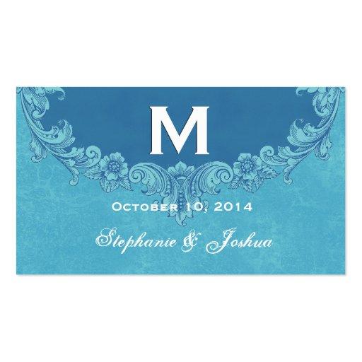 Boda de encargo del monograma del marco azul del v tarjeta de visita