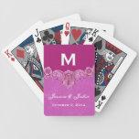 Boda de encargo del monograma del vintage magenta  baraja de cartas