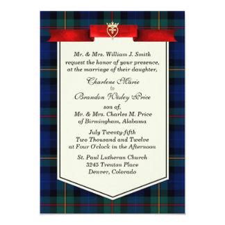 """Boda de encargo elegante de la tela escocesa de invitación 5"""" x 7"""""""