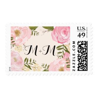 Boda de encargo floral del monograma del rosa sello