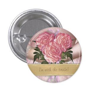 Boda de encargo (rosado) del ramo de las novias pin redondo 2,5 cm