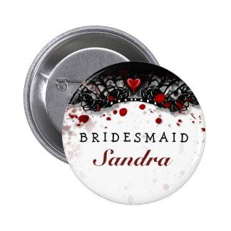 Boda de Halloween de la salpicadura de la sangre Pin Redondo De 2 Pulgadas