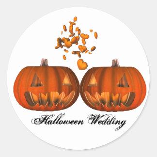 Boda de Halloween del amor de la calabaza del KRW Etiqueta Redonda
