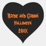 Boda de Halloween Calcomanía Corazón Personalizadas