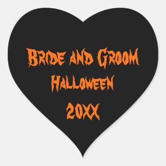 Boda de Halloween Pegatina En Forma De Corazón