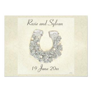 """Boda de herradura de los rosas de plata invitación 5.5"""" x 7.5"""""""