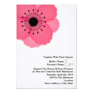 """Boda de la anémona de las rosas fuertes: Así como Invitación 5"""" X 7"""""""
