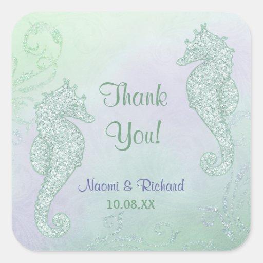 Boda de la chispa del Seahorse - gracias Pegatinas Cuadradas Personalizadas