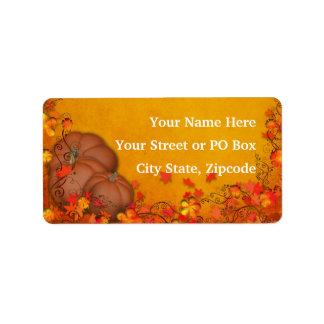 Boda de la dicha del otoño etiquetas de dirección