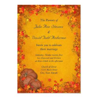 Boda de la dicha del otoño invitación 12,7 x 17,8 cm