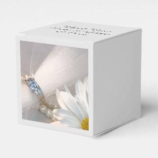 Boda de la elegancia de la margarita blanca cajas para regalos