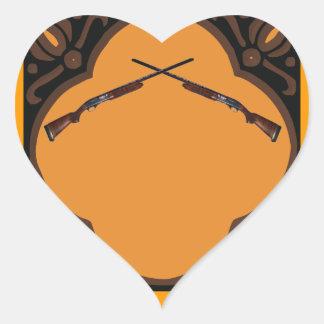 Boda de la escopeta pegatina en forma de corazón