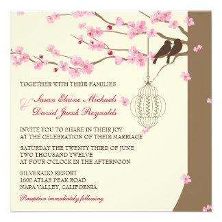 Boda de la flor de cerezo de la jaula del vintage