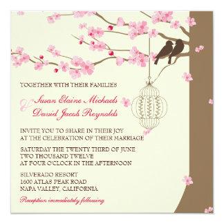 """Boda de la flor de cerezo de la jaula del vintage invitación 5.25"""" x 5.25"""""""
